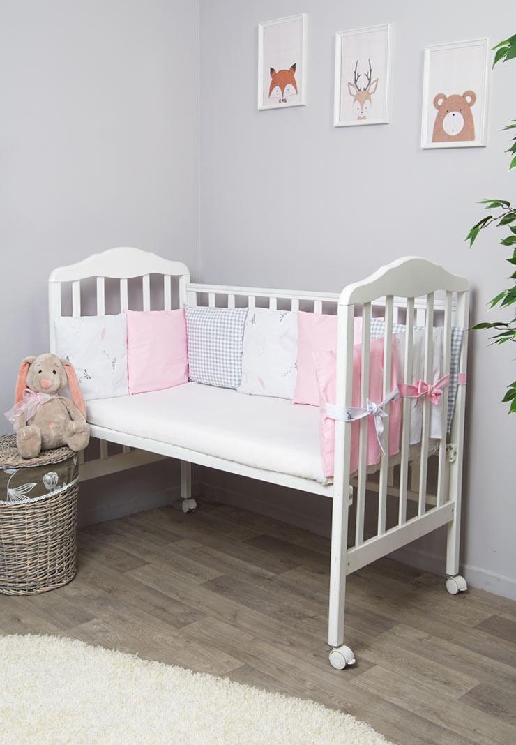 """Бортик для кроватки """"Сонный гномик"""", """"Стрекоза-Егоза"""", 111-12, розовый"""