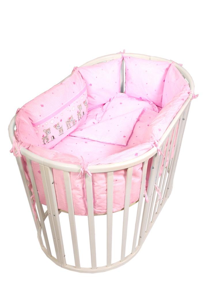 Бортик для кроватки Сонный гномик Оленята, розовый