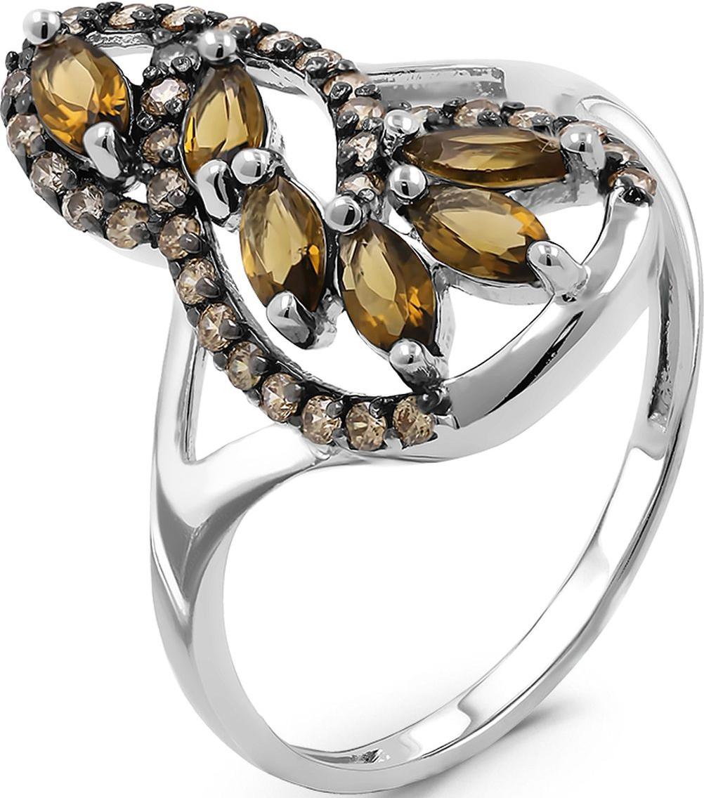 Кольцо женское Серебро России, серебро 925, 1-2010р-10705, размер 17СереброКольцо из серебра с раухтопазом и фианитами родированное
