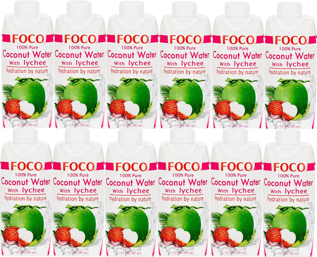 Вода Foco кокосовая с соком личи, 12 шт по 330 мл цена 2017