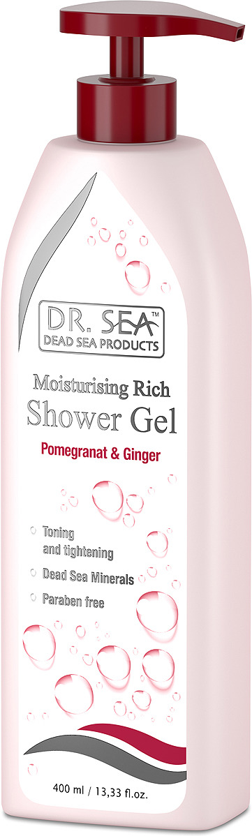 Гель для душа Dr. Sea, с гранатом, имбирем и минералами Мертвого моря, для всех типов кожи, 400 мл кондиционер для волос dr sea с кератином витамином е и минералами мертвого моря для всех типов волос 400 мл