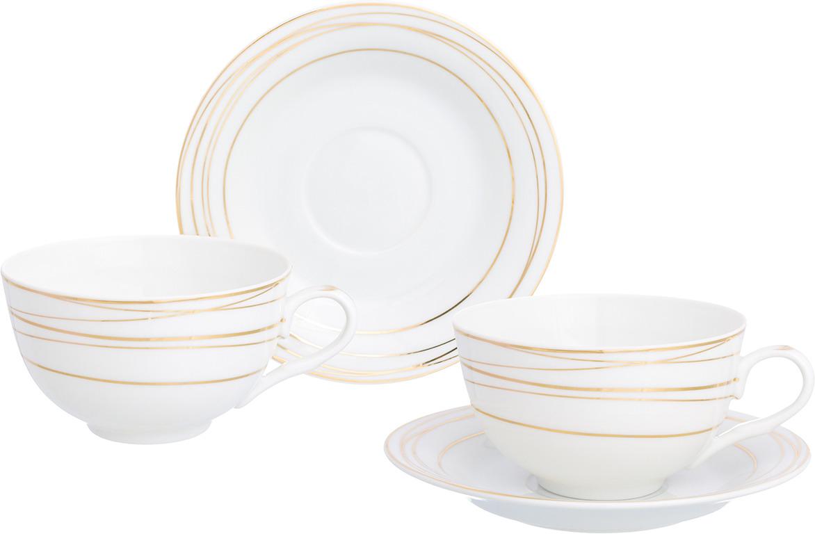 Набор чайный Elan Gallery Золотые полоски, 730731, белый, золотистый, 4 предмета чайный набор elan gallery ягода малина 4 предмета