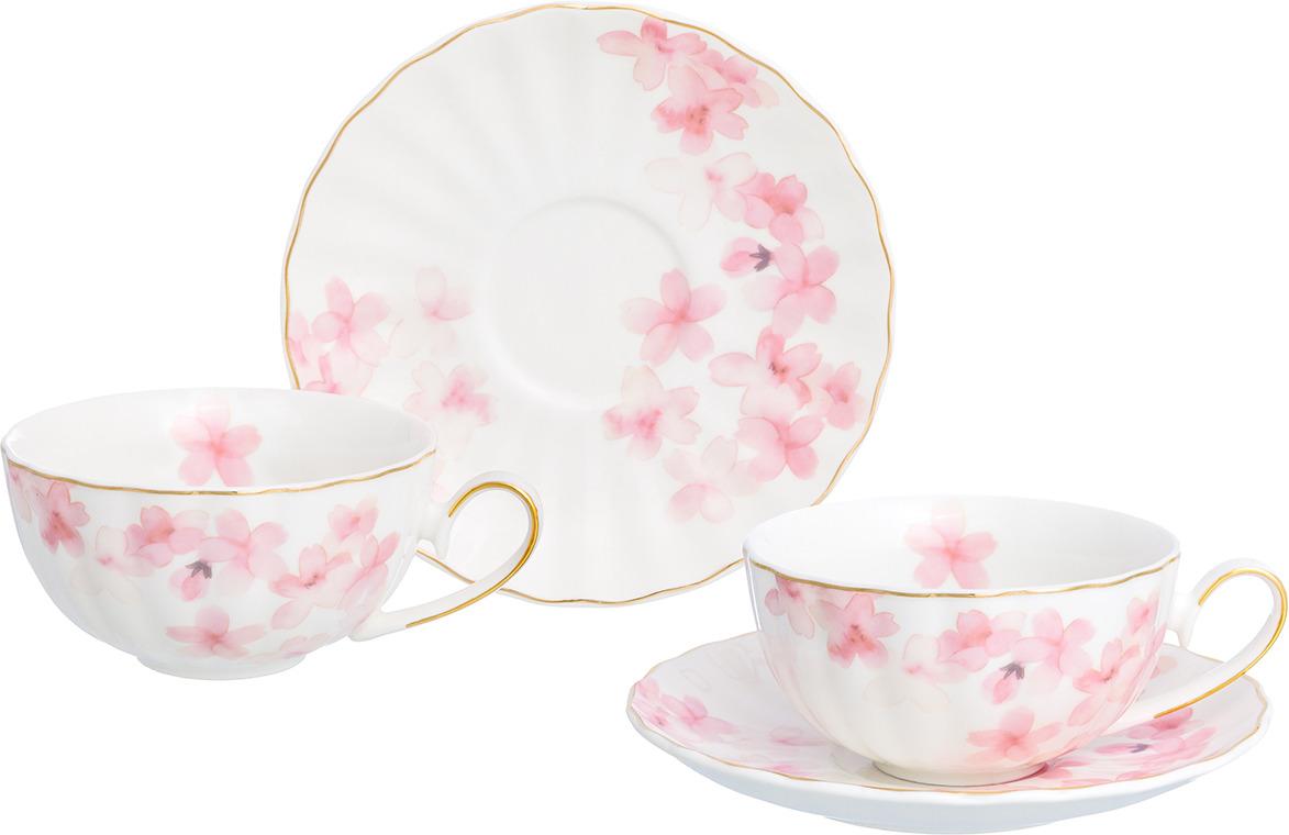Набор чайный Elan Gallery Цветущая розовая сакура, 730734, белый, розовый, 4 предмета