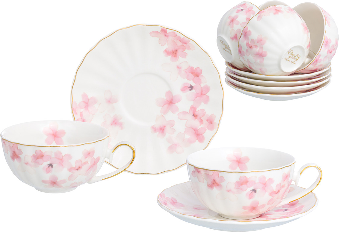 Набор чайный Elan Gallery Цветущая розовая сакура, 730735, белый, розовый, 12 предметов цена