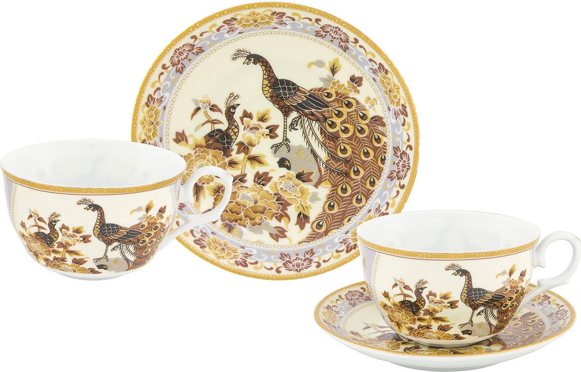 Набор чайный Elan Gallery Павлин на бежевом, 730746, бежевый, белый, 4 предмета