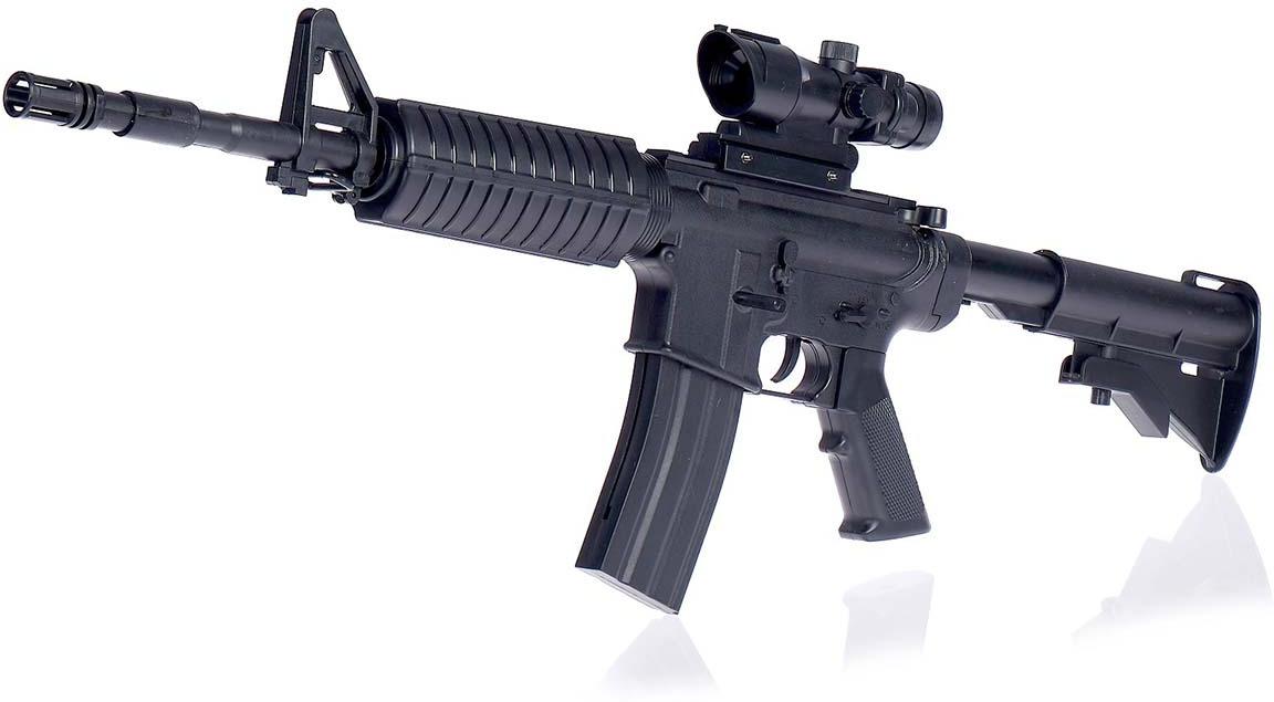 Игрушечное оружие Автомат пневматический М16 с оптическим прицелом, 2431874 игрушечное оружие pixel crew автомат м16 8бит синий пиксельный 62 см