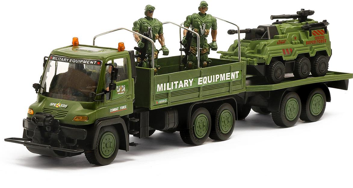 Машинка Грузовик Военный спецназ инерционный с солдатами и техникой, 2610548 грузовик dave инерционный