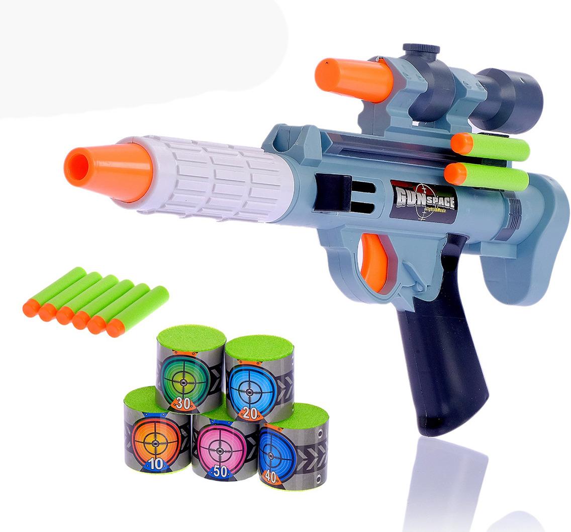 Игрушечное оружие Пистолет Космическая пушка с мишенями, 2872381 игрушечное оружие zuru x shot ружье с мишенями атака пауков