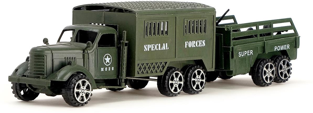 Машинка Грузовик Военный инерционный с прицепом и солдатами, 668775 грузовик dave инерционный