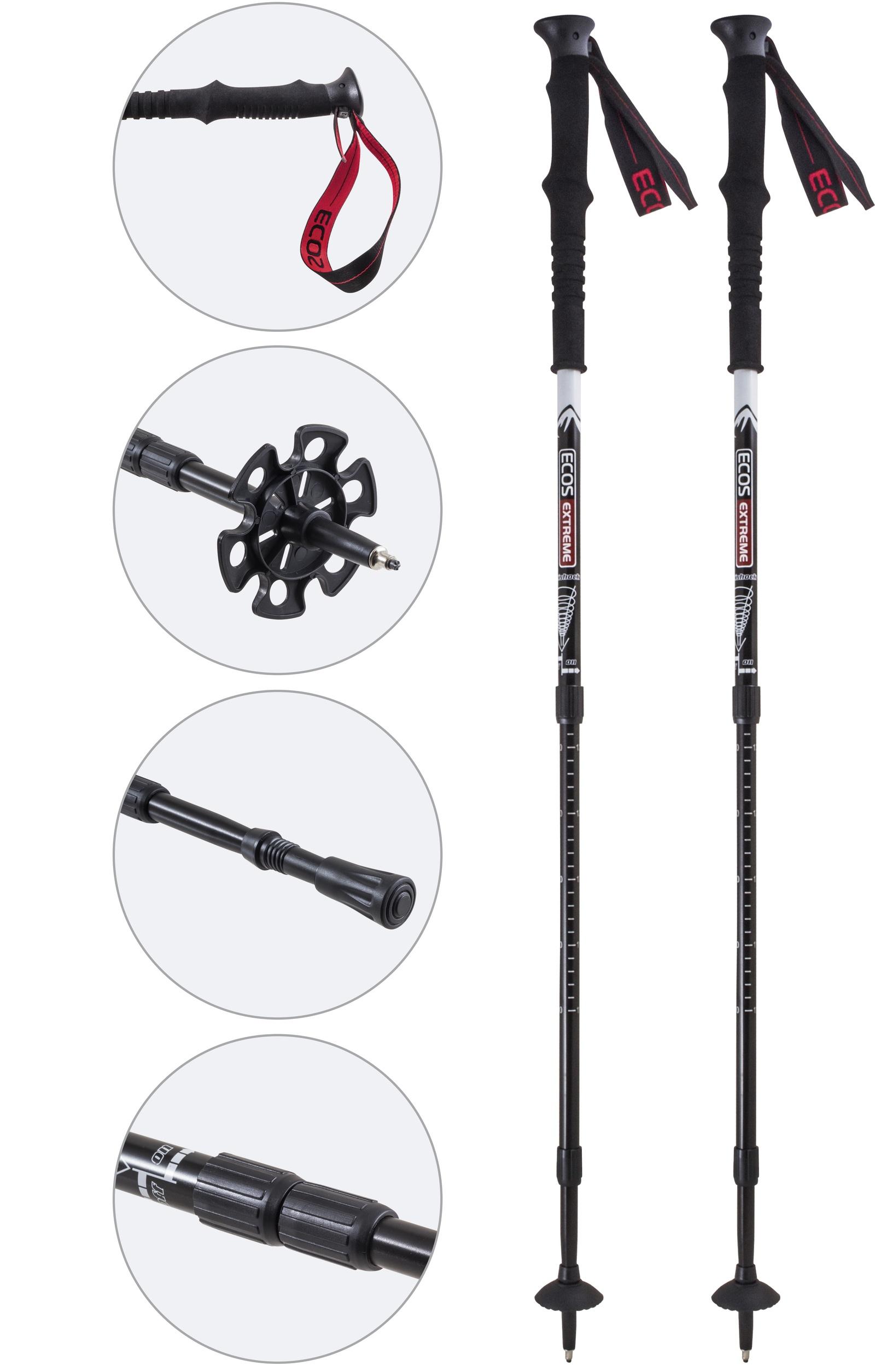 Трекинговые палки Ecos AQD-C025 телескопические, 58 999908, черный