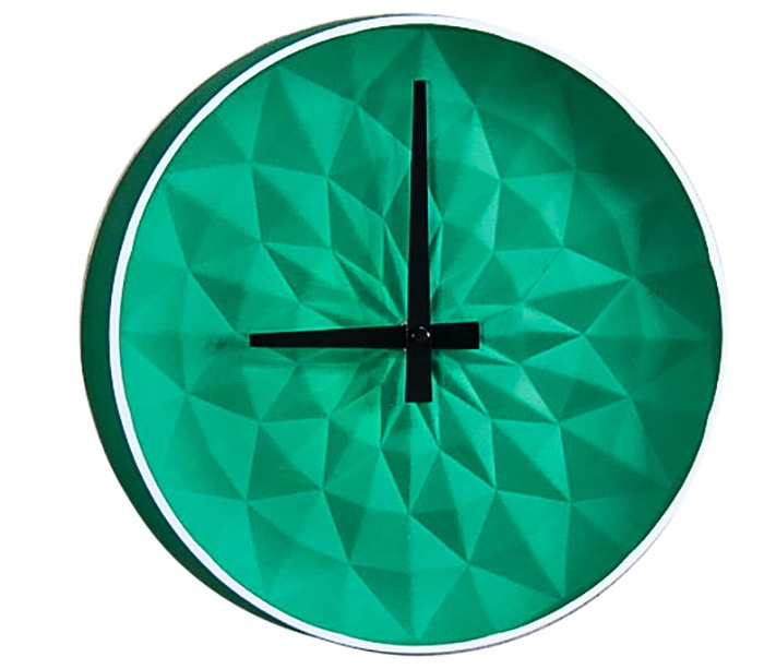 Часы настенные керамические, круглые, размер 25.5*25.5*5.5 см, зеленые