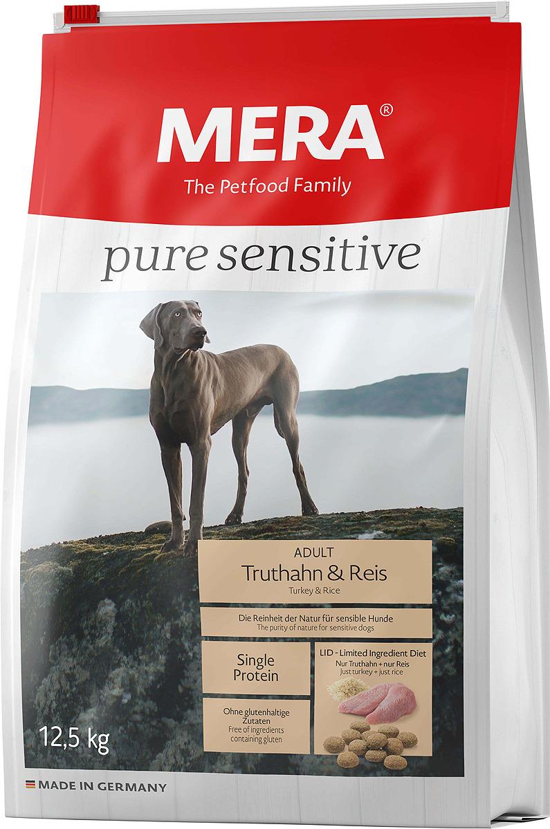 Корм сухой Mera Pure Sensitive, 56750, для взрослых собак, индейка и рис, 12,5 кг mera сухой корм mera pure sensitive adult truthahn