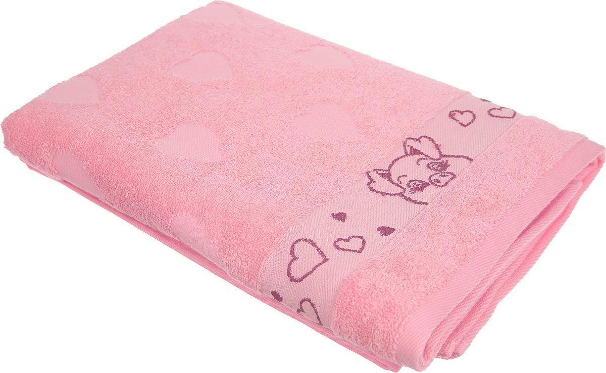 Полотенце банное Aquarelle Свинки 2 729076, розовый, 70 х 130 см полотенца нордтекс полотенце aquarelle палитра аметистовый 70 130 см