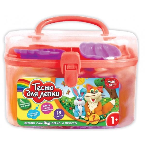 Набор тесто для лепки MultiArt Саквояж, 255904, 18 цветов набор тесто для лепки multiart маша и медведь 4 цв х 50 гр аксесс в рюкзаке в кор 2 12шт