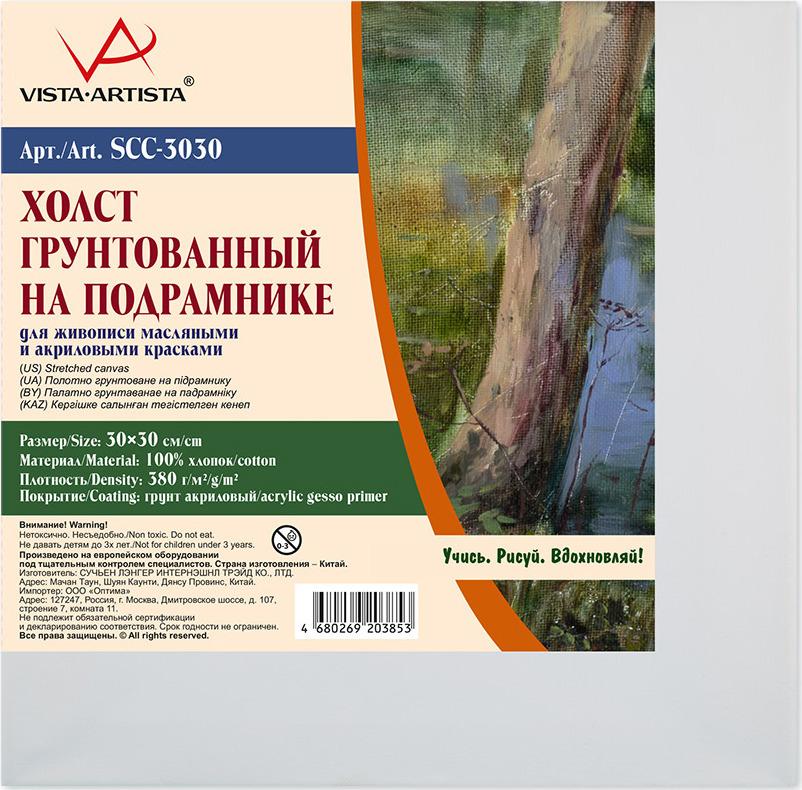 Холст грунтованный на подрамнике Vista-Artista, SCC-3030, хлопок, 30 х 30 см