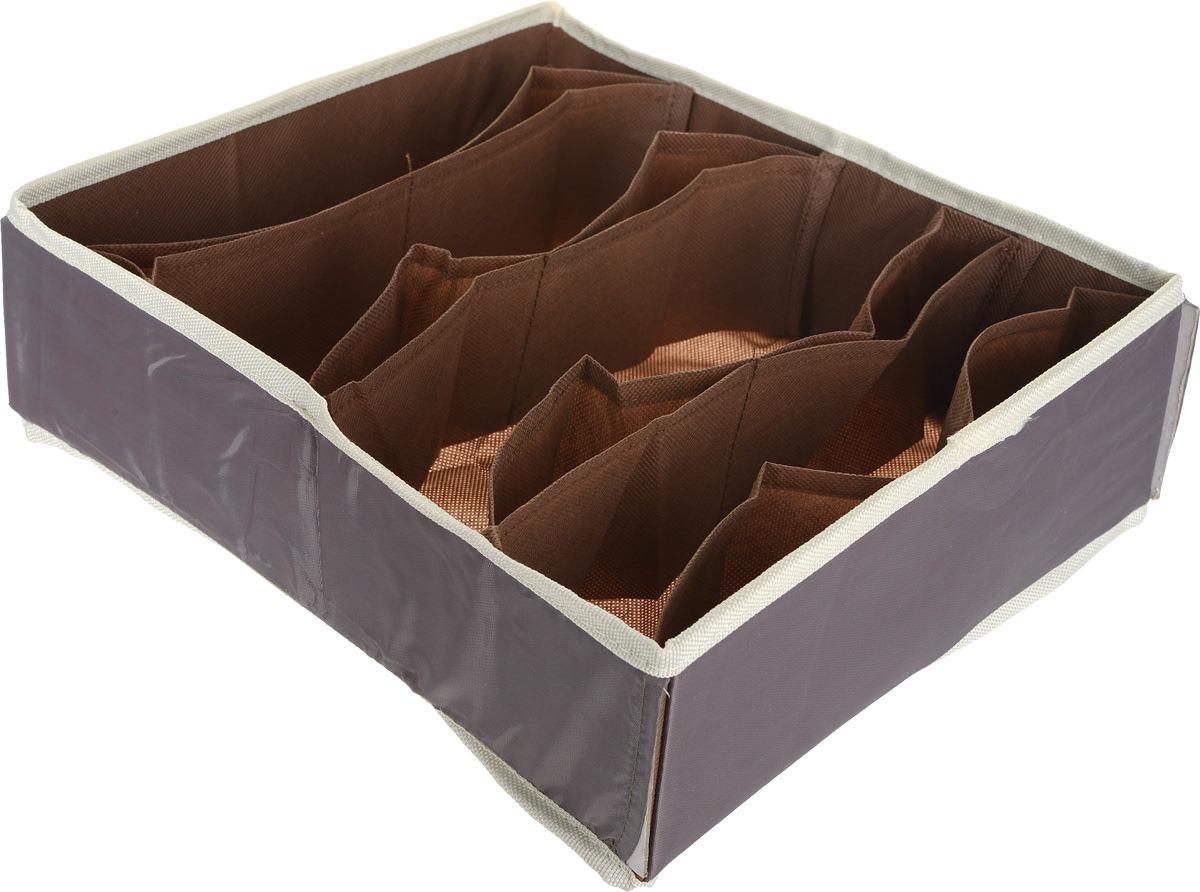 Органайзер для хранения нижнего белья Hausmann, 4 секции, 4P-105, коричневый, 30 x 35 x 11 см интернет магазин мужского нижнего белья хо