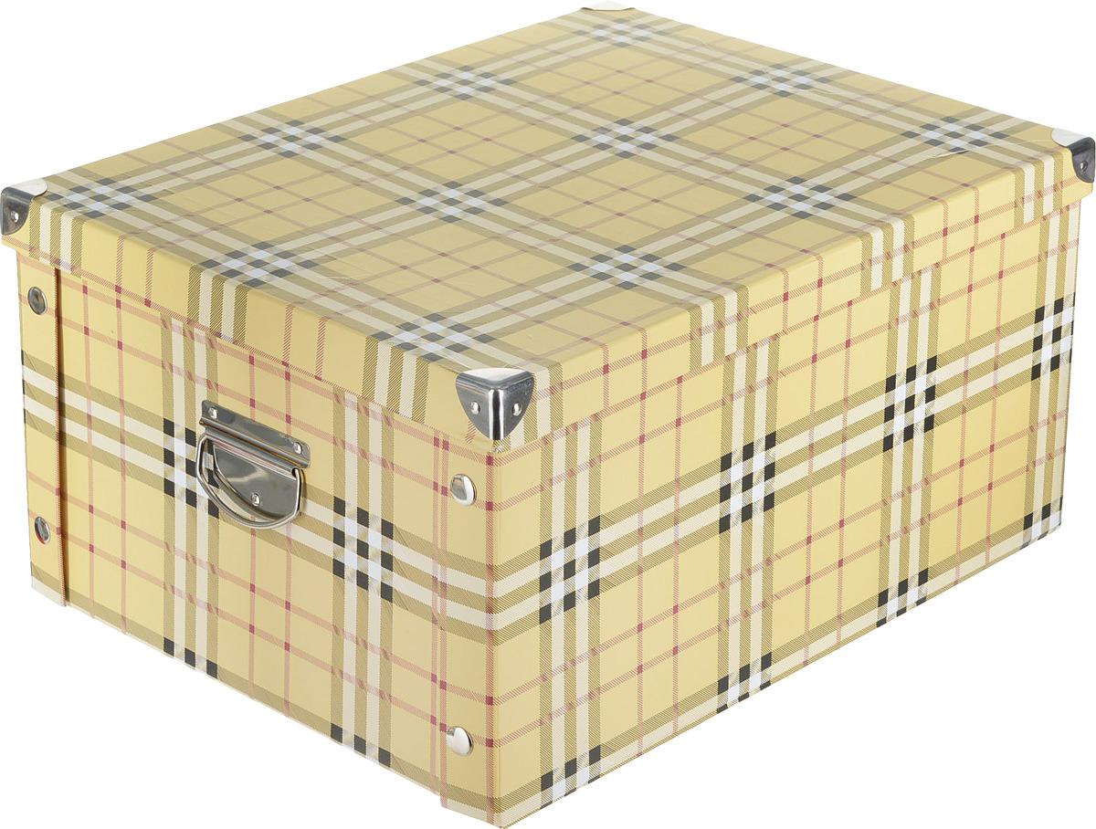 Коробка для хранения Hausmann, складная, с уголками, HM-9744-4, желтый, черный, клетка, 45 х 35 х 22.5 см цена