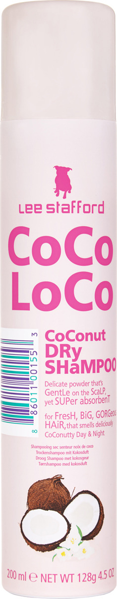 Сухой шампунь для волос Lee Stafford Сосо Loco, с кокосовым маслом, 200 мл lee stafford маска для роста волос hair growth 200 мл