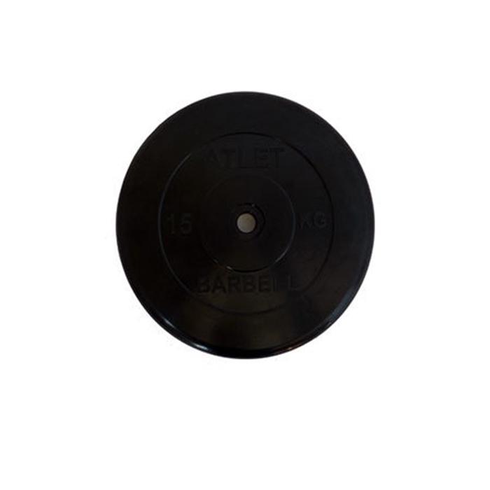 Диск обрезиненный MB Atlet d-26, черный, 15 кг