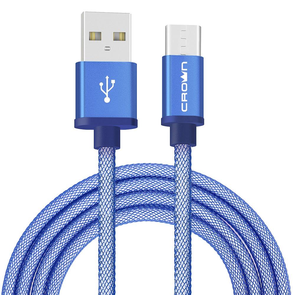 Кабель для зарядки и передачи данных USB-USB Type-C Crown Micro CMCU-3072C, blue кабель mobiledata usb micro usb 1 м двухсторонний нейлоновая оплётка золотой