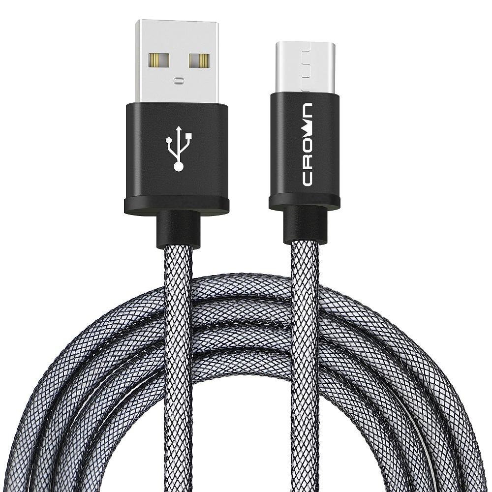 Кабель для зарядки и передачи данных Crown Micro USB - USB Type-C, CMCU-3072C, black кабель mobiledata usb micro usb 1 м двухсторонний нейлоновая оплётка золотой