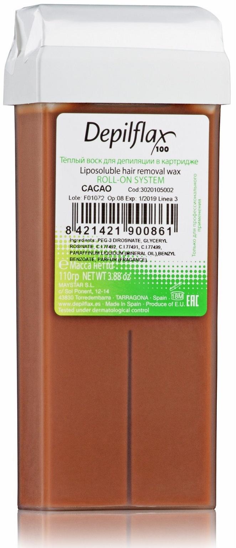 Воск для депиляции DEPILFLAX100 шоколадный/cacao 110 г воск для депиляции depilflax100 розовый 900984d к ремовый плотный 110 гр 110