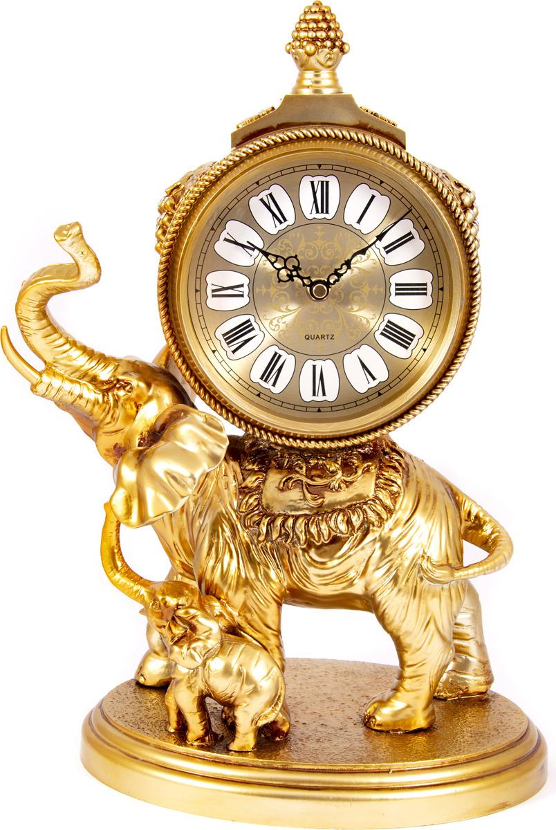 """Настольные часы Русские Подарки """"Слон"""", разноцветный, 29 х 17 х 40 см"""