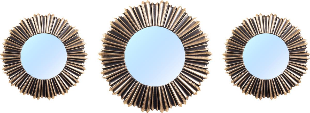 Набор настенных зеркал Русские подарки, 68203, коричневый, 3 шт набор ёлочных игрушек русские подарки шары цвет серебристый 8 см 4 шт