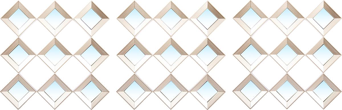 Набор зеркальных изделий для интерьера Русские подарки, 68205, белый, 25 х 25 см, 3 шт