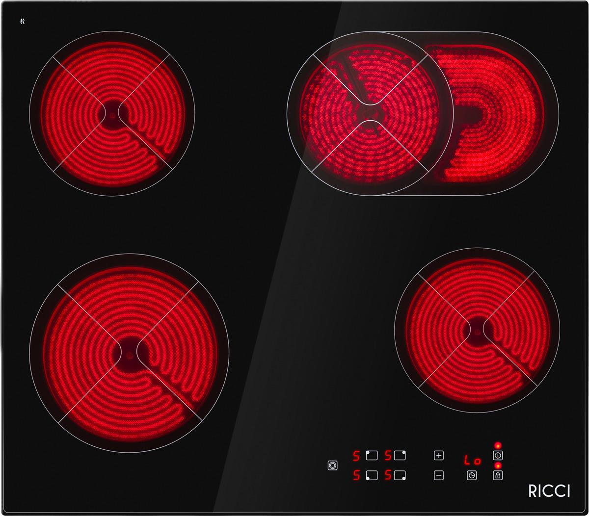 Варочная панель Ricci KS-T46202R, четырехконфорочная, инфракрасная, черный все цены