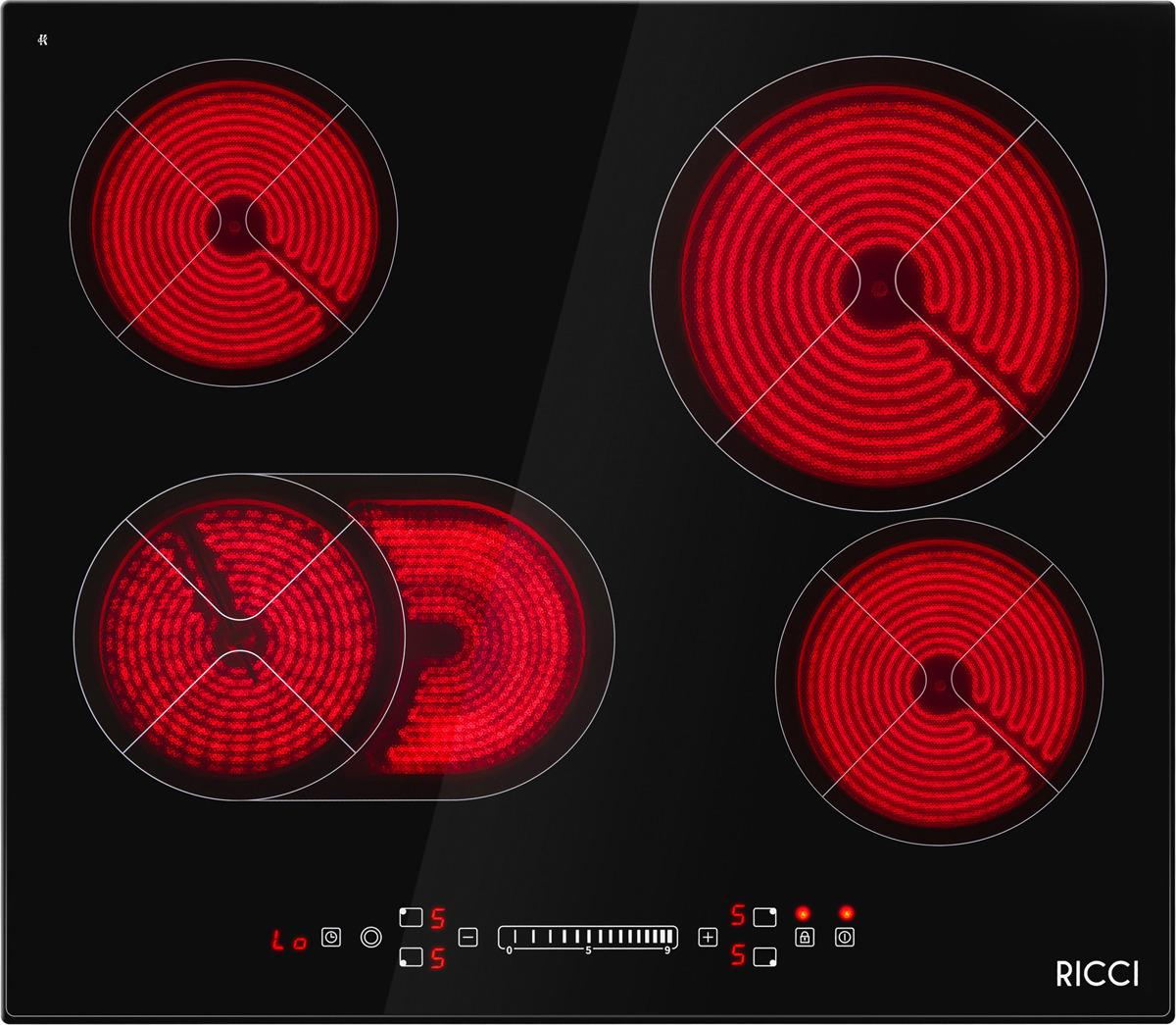 Варочная панель Ricci KS-T46619R, четырехконфорочная, инфракрасная, черный все цены