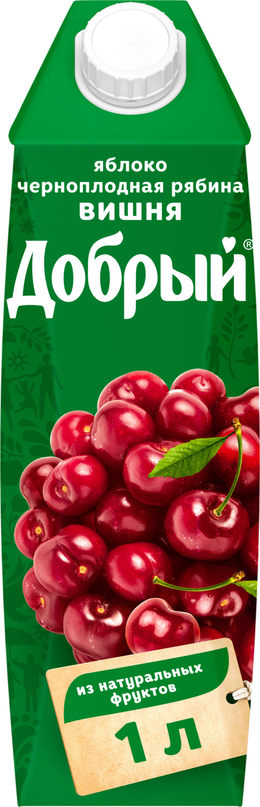 Нектар Добрый Яблоко, Черноплодная рябина, Вишня, 1 л