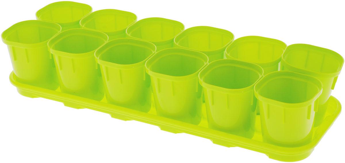 Набор горшков InGreen для выращивания рассады, с поддоном, 12 шт ящик для рассады archimedes урожай 2