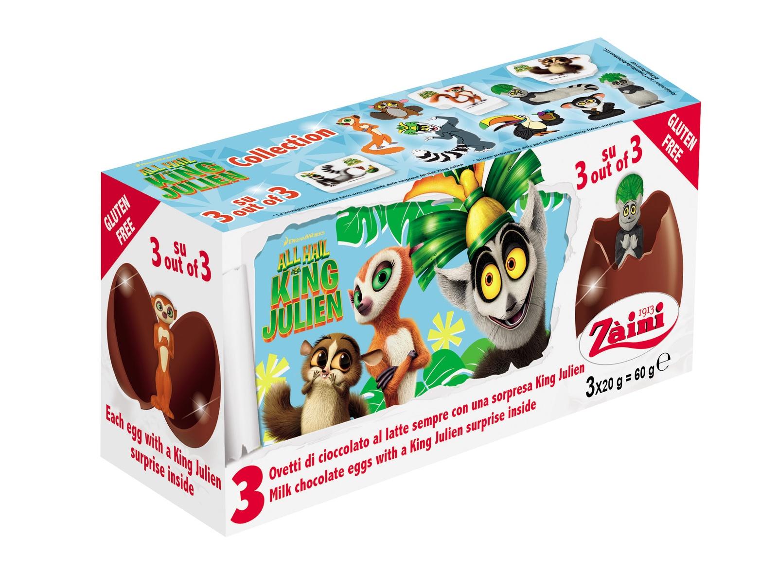 Шоколадное яйцо ZAINI Шоколадное яйцо KING JULIEN с коллекционной игрушкой-сюрпризом внутри Zaini (JUIEN) tpk, Молочно-шоколадный zaini choco