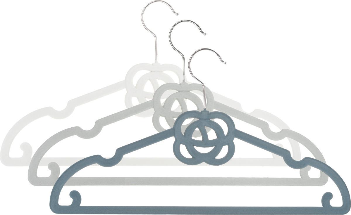 Набор вешалок EL Casa Роза, с перекладиной, с крючками для юбок, цвет: серебристый, темно-серый, серый, 3 шт вешалки