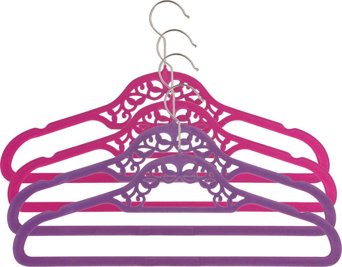 Набор вешалок EL Casa Кружево, с перекладиной, цвет: бордовый, фиолетовый, 4 шт вешалки