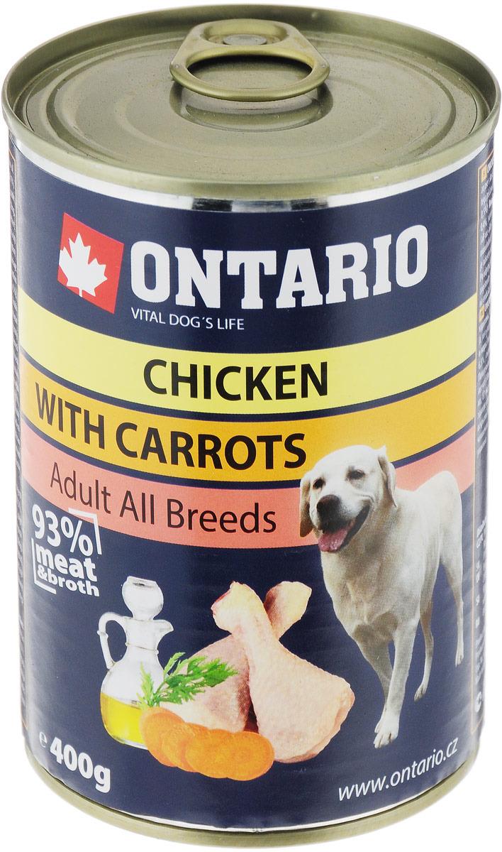 """Консервы для собак """"Ontario"""", с курицей и морковью, 400 г"""