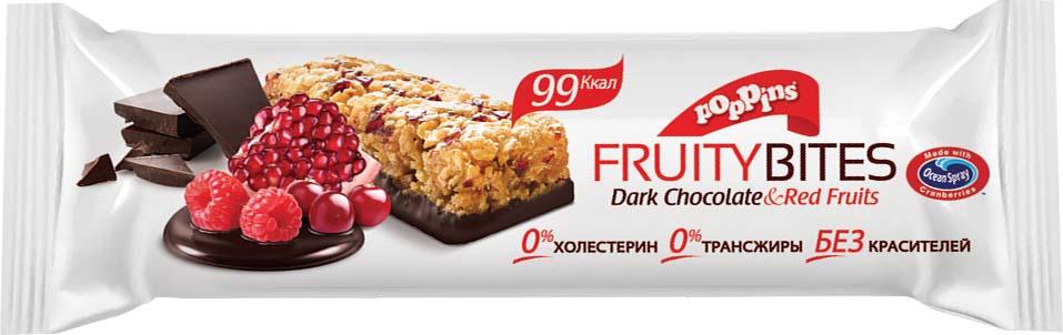Батончик злаковый Poppins Dark Chocolate & Red Fruits, со вкусом красных ягод с темным шоколадом, 25 г батончик из ягод шелковицы 20 г 20 г