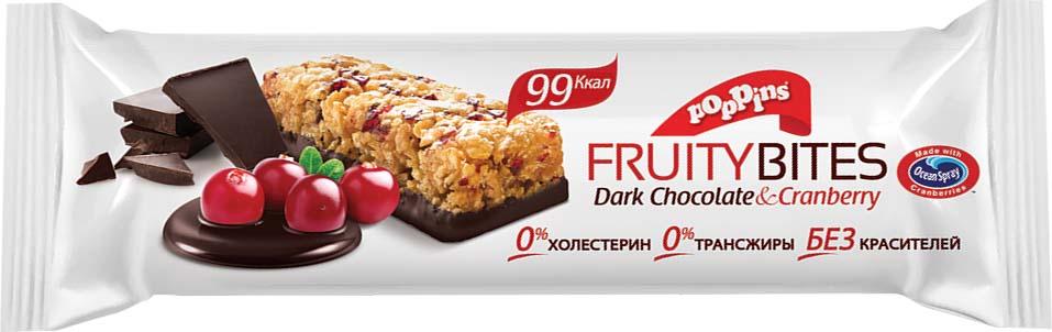 Батончик злаковый Poppins Dark Chocolate & Cranberry, с клюквой с темным шоколадом, 25 г merba печенье с клюквой и белым шоколадом 200 г