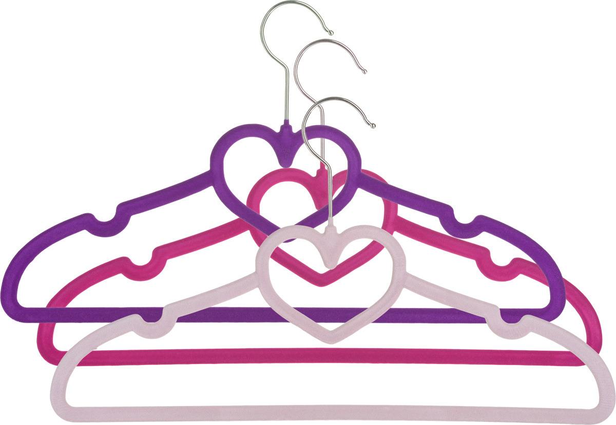 Набор вешалок EL Casa Сердце, с перекладиной, цвет: фиолетовый, бордовый, сиреневый, 3 шт вешалки
