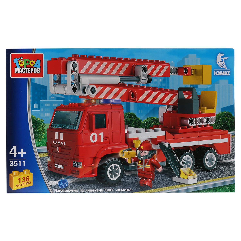 Конструктор Город мастеров камаз: пожарная машина с люлькой, 136дет. конструктор металлический пожарная машина 239 детали