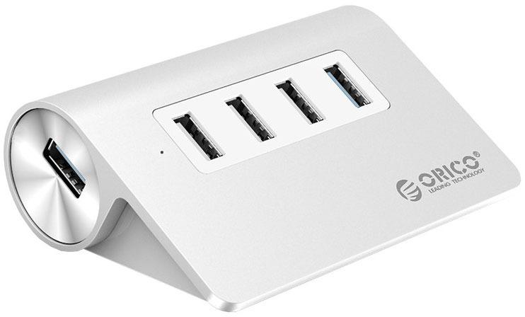 лучшая цена USB-концентратор Orico M3H4-U32, Silver
