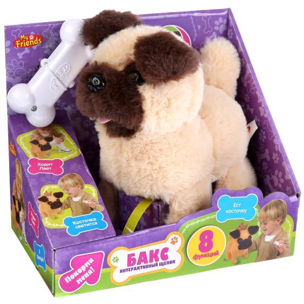 Интерактивная игрушка My Friends Щенок Бакс, 261893261893Интерактивный щенок Бакс 16см на бат. со светящейся косточкой MY FRIENDS