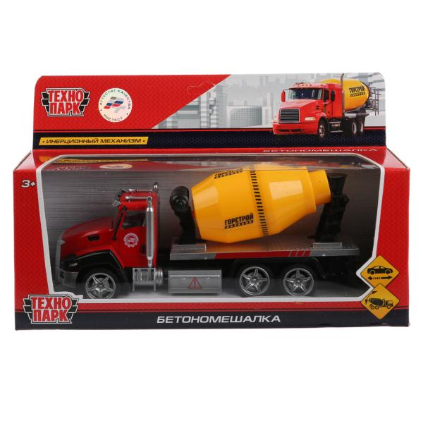Машина Технопарк Бетономешалка, 262345, красный, серый, желтый, 21 см бетономешалка технопарк бетономешалка 1 64 желтый u1401a 6