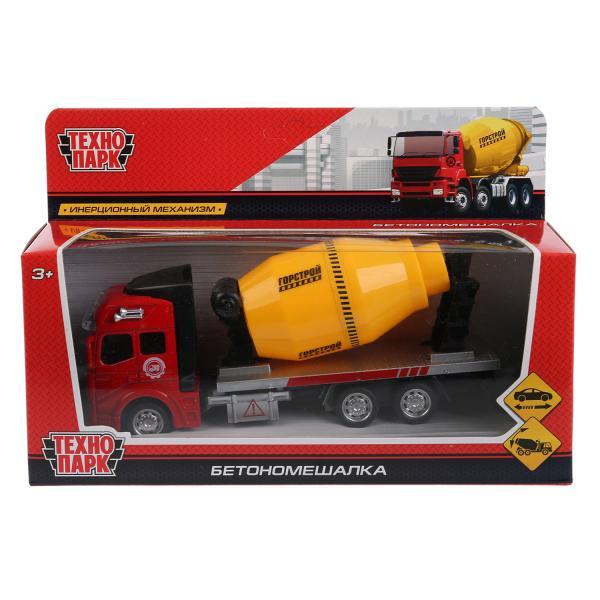 Машина Технопарк Бетономешалка, 262317, красный, серый, желтый, 19 см бетономешалка технопарк бетономешалка 1 64 желтый u1401a 6