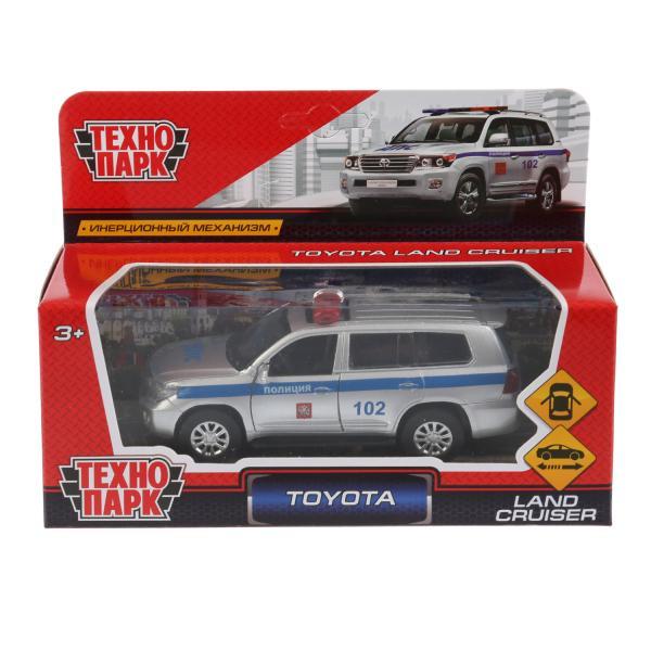 Машина Технопарк Toyota Land Cruiser полиция, 262768, серебристый, синий, 12,5 машинки технопарк машина технопарк зил 130 полиция