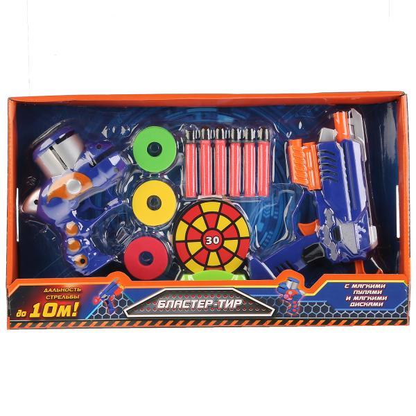 Бластер-тир Играем Вместе, с мягкими пулями, дисками и мишенью, 264013 автомат c мягкими светящимися пулями 201055