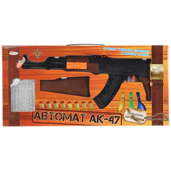 Автомат Ак-47 Играем Вместе, с мягкими и гелевыми пулями M47+, 264021 автомат c мягкими светящимися пулями 201055