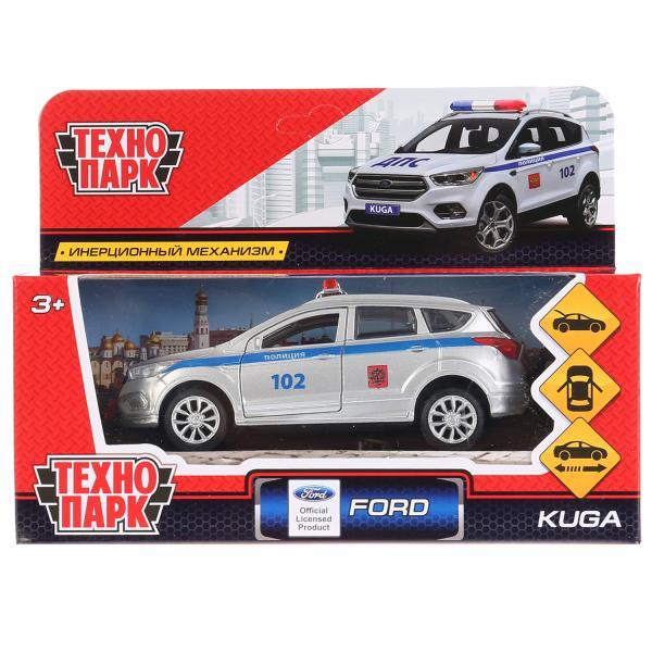 Машина Технопарк Ford Kuga полиция, 265820, серебристый, синий, 12 см машинки технопарк машина технопарк зил 130 полиция