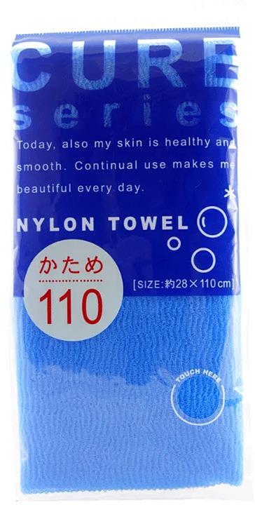 Мочалка Ohe Cure, жесткая, синий, длина 110 см мочалка для тела жесткая зеленая cure nylon towel regular green
